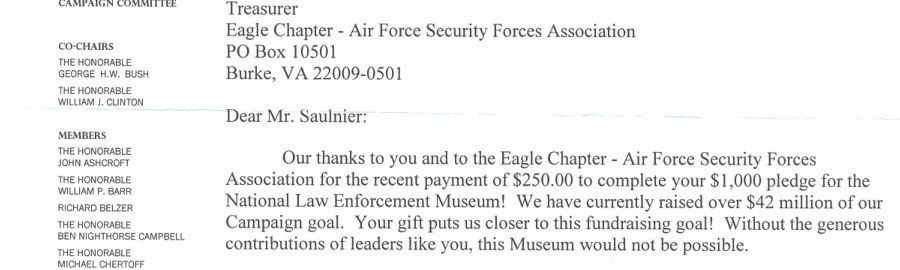 Police Memorial Support - Eagle Chapter Air Force Security